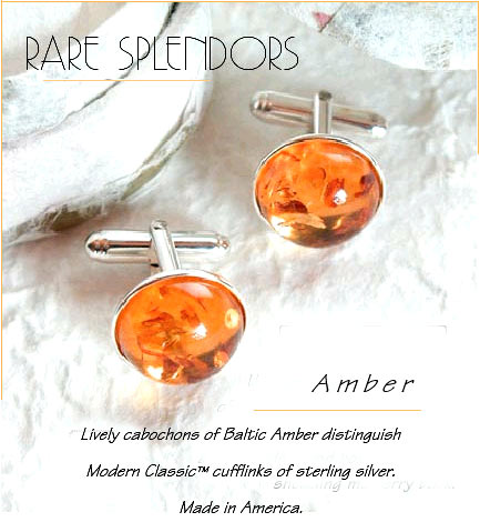 Baltic Amber Cufflinks : Modern Classic Sterling Silver