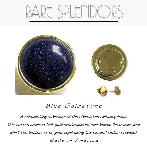 Blue Goldstone Button Covers/Lapel Boutons
