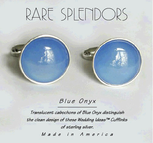 Blue Onyx Wedding Ideas™ Sterling Silver Cufflinks