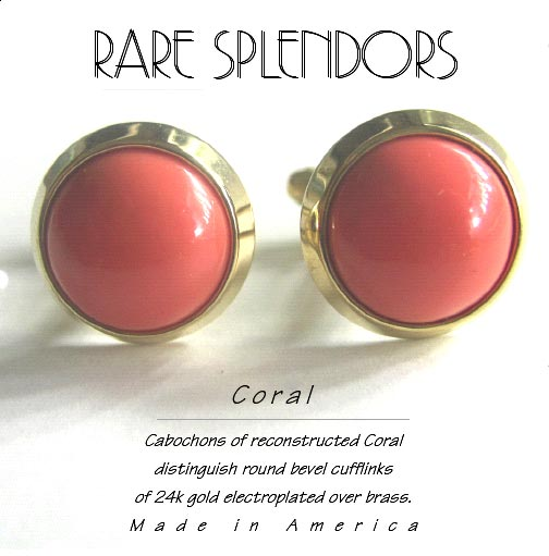 Reconstructed Coral Bevel Cuff Links
