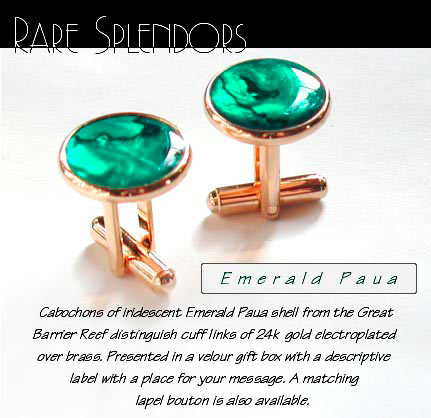 Emerald Paua Shell Cufflinks