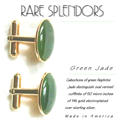 Green Nephrite Jade Cufflinks : Exclusive Modern Classic Gold Vermeil Upscale Fashion