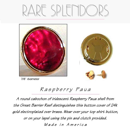 Raspberry Paua Shell Button Cover