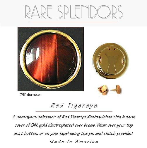 Red Tigereye Groomsman Gift Button Cover