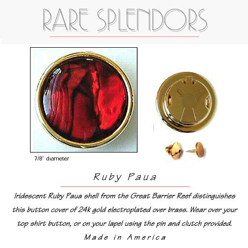 Ruby Paua Shell Groomsman Gift Button Cover